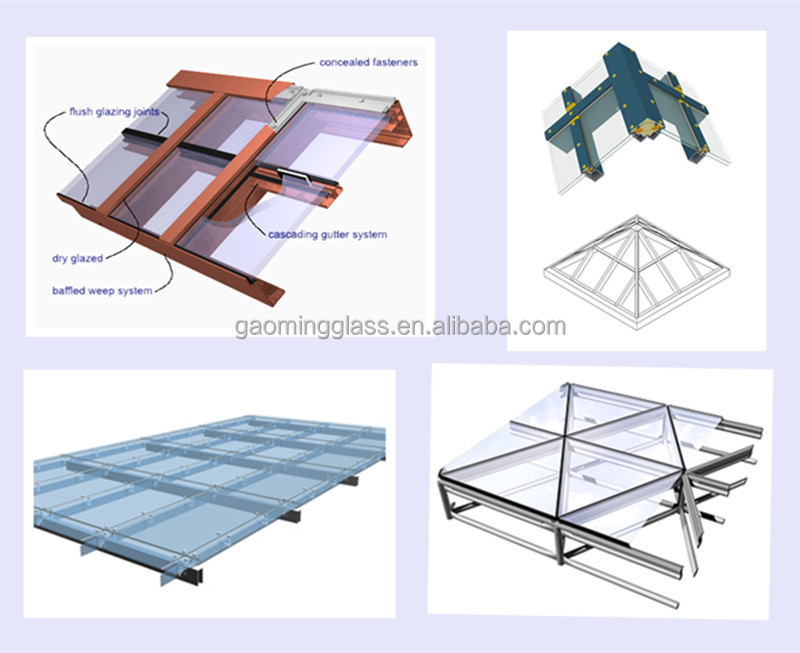 Steel Structure Aluminum Frame Glass Skylight Glass Roof
