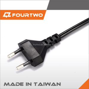 Top Quality flat wire AC power 2 pin round pin European plug