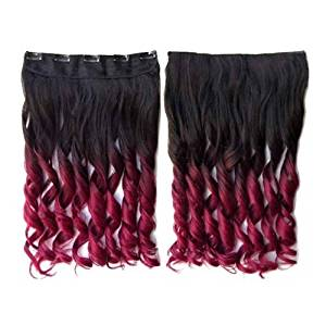 TOOGOO(R)Colorful Hair Extensions 130g 60cm/24inch heat resistant fantastic Synthetic Long Clip in Hair Extensions Women hair 5 clips one piece hair extensions (Curly, Black + Wine-red)