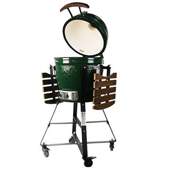 Portable 18inch big egg shaped green ceramic gas style with bamboo handle  bbq  grill