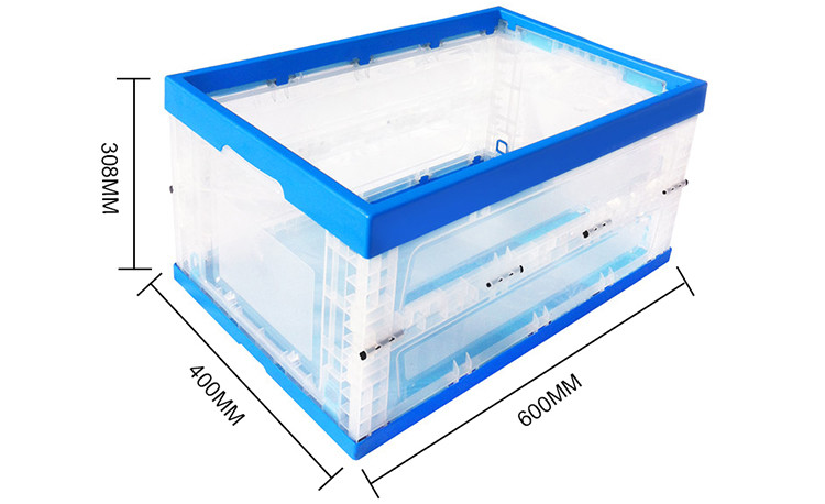 Recyclable fruit storage plastic collapsing folding crate