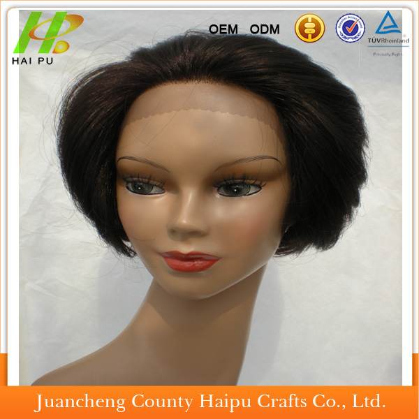 Fashion Remy Hair Short Curly Indian Human Hair Full Lace Wigs