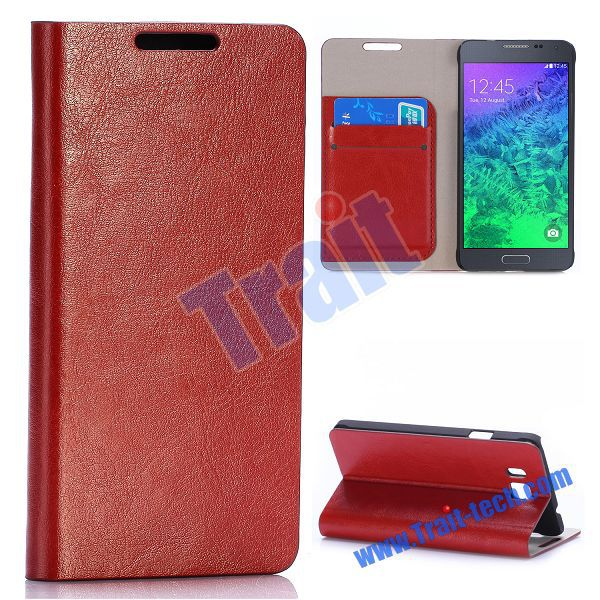 New Arrival Crystal Grain Wallet Style Stand Flip Leather Case for Samsung Galaxy Alpha SM-G850F SM-G850A with Card Slot