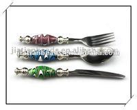 beadable stainless steel Fork Knife & Spoon tableware set murano glass beads for dinnerware