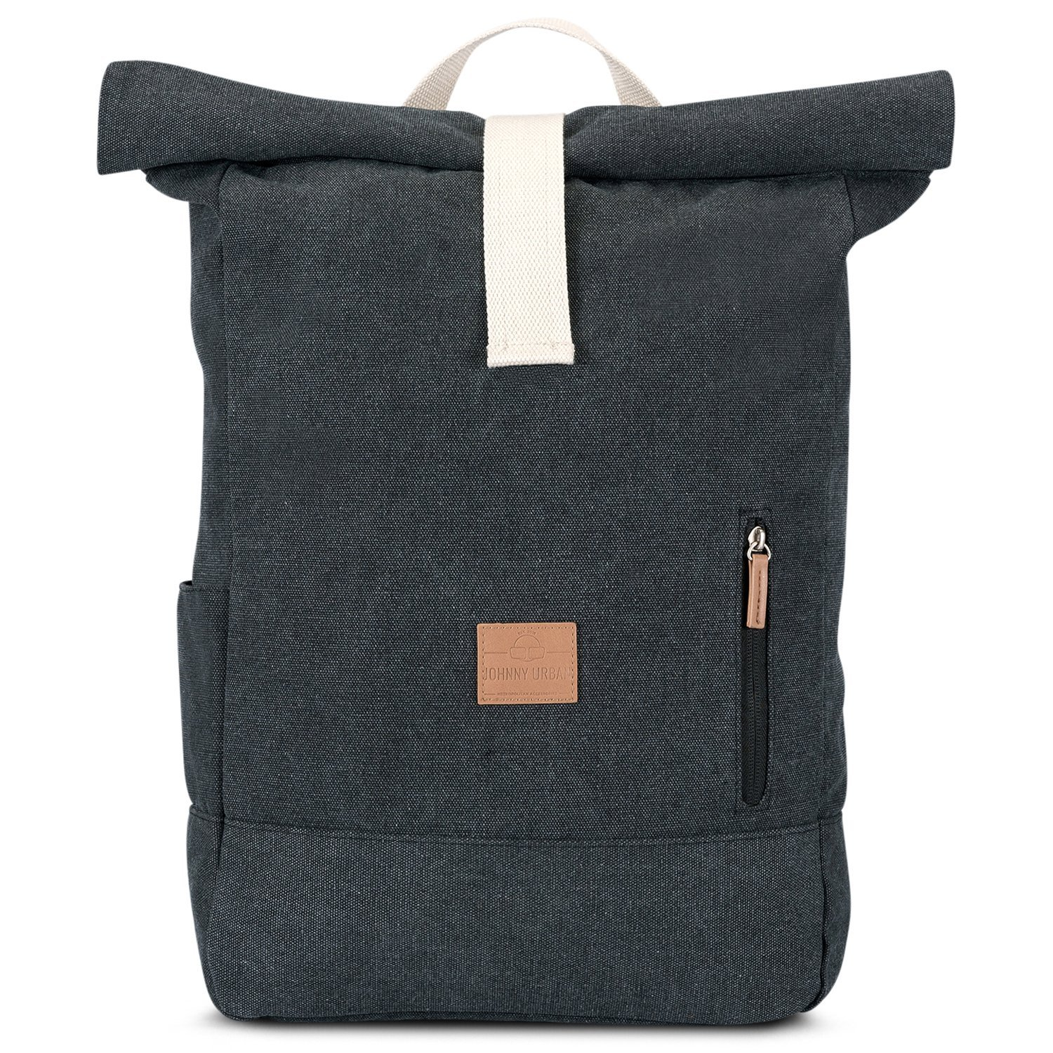 87770bc0e4fd Get Quotations · Johnny Urban Roll Top Backpack from Cotton Canvas - Black  - Durable Daypack for Men