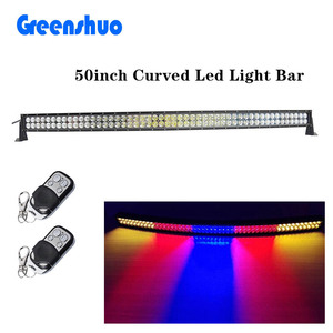 Curved RGB 288W 50inch Flash Led Light bar with wireless remote control for 4X4 offroad Suv Car 4WD