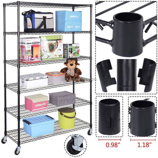 Factory Price 6 Tiers Adjustable Shop Metal Office Showroom Wire Display Shelf Rack, NSF & SGS Approval