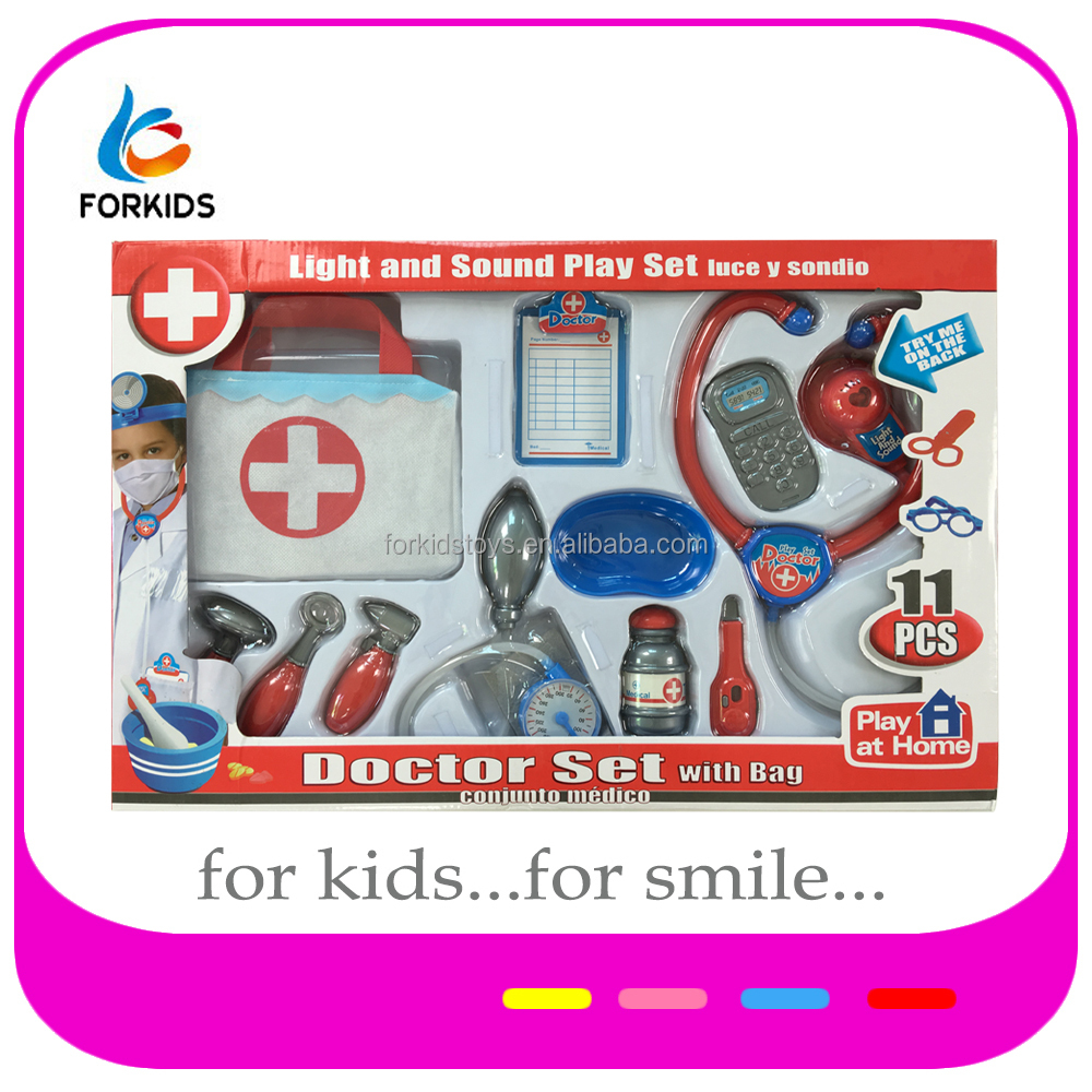 Plastic intelligence toy,kids role play doctor toy set with light and sound,hospital medical toys with bag