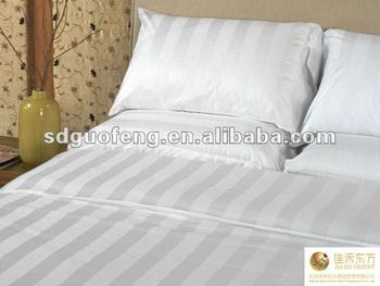 Hotel White Cotton Percale Egyptian Fabric Stripe Bed Linen Sheeting Material