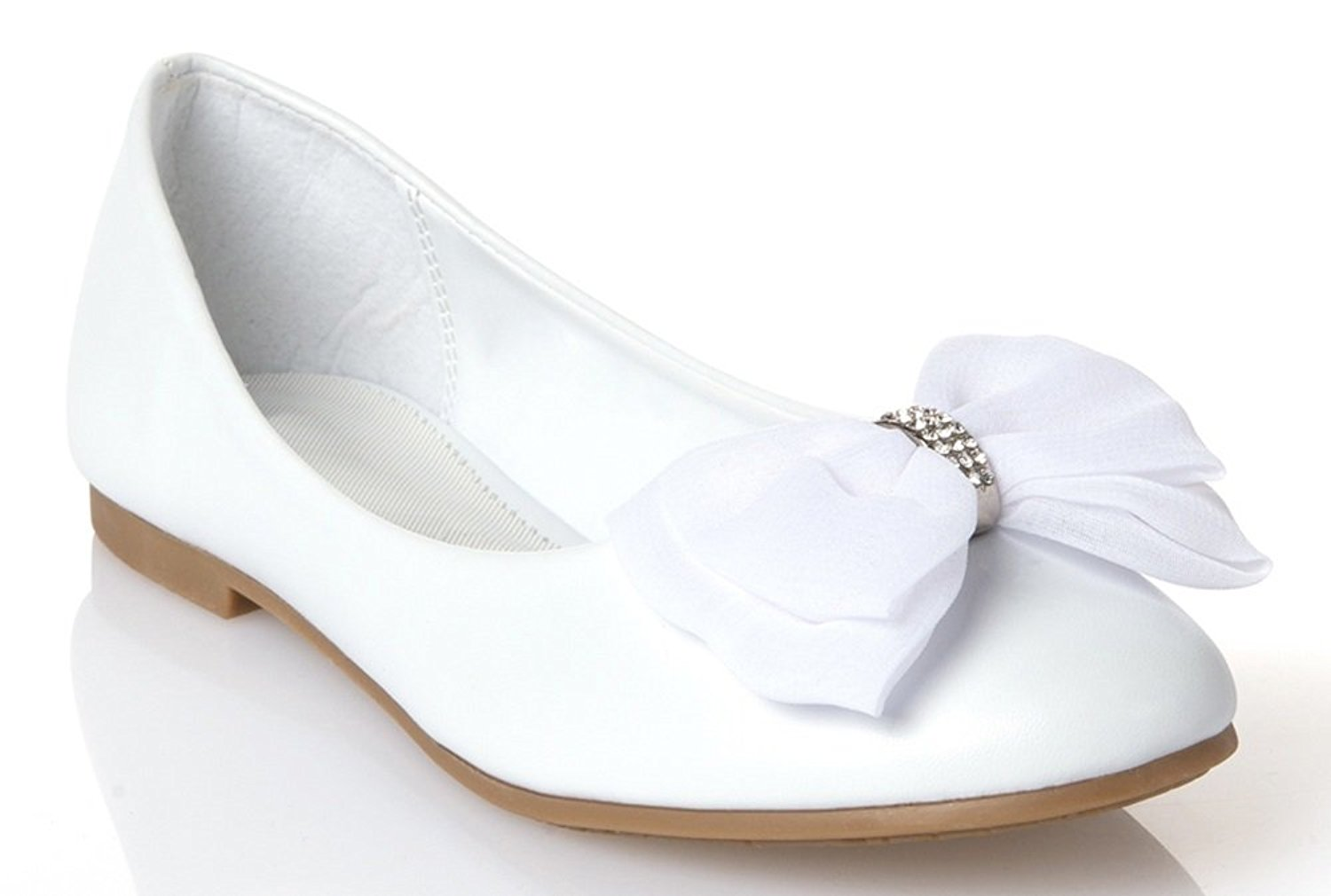 Get Quotations · OLIVIA K Girls Stylish Leather Patent Flats With A Chiffon  Bow and Cute Ribbon And Rhinestone