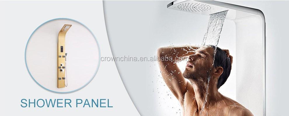 Crown Harga Pabrik Strainless Steel Pijat Hujan Shower Panel dengan Beberapa Fungsi dan Yang Sangat Baik Sistem Mandi Di Kamar Mandi