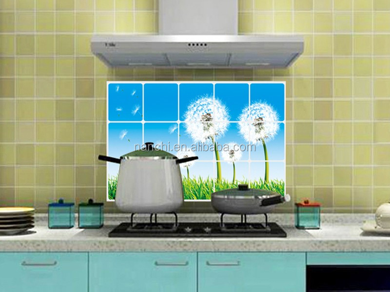 Hotel Restaurant kitchen wall stickers Home Furnishing dandelion wall decor oil and water proof removable kitchen wall stickers