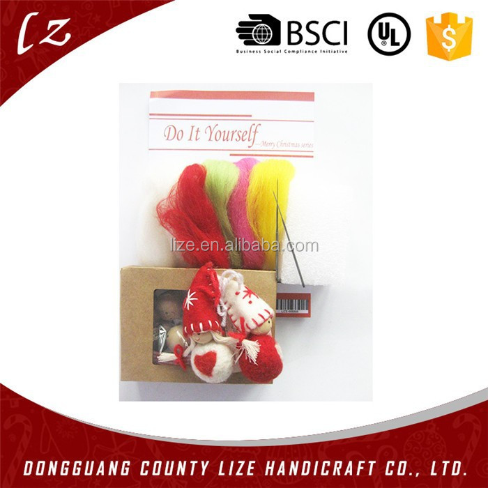 2015 hot sales new product home crafts holiday decorations handmade Christmas hanging pure wool felting needles kits