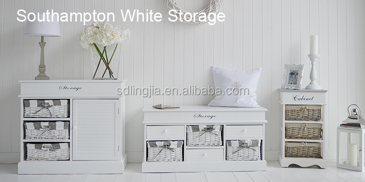 White Wicker Basket Drawers Cabinet Wooden Plastic Storage Drawers