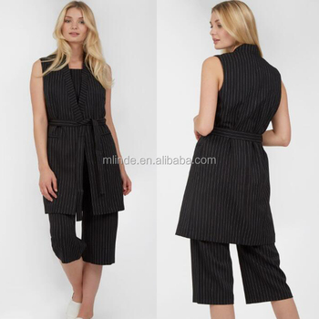 Womens Clothes 2017 Smarter Style Belted Waist Trendy Youthful Business Pinstripe Longline Sleeveless Jacket For Ladies