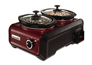 Crock-Pot SCCPMD1-R Hook Up Double Oval Connectable Entertaining Slow Cooker System, 1-Quart, Metallic Red by Crock-Pot