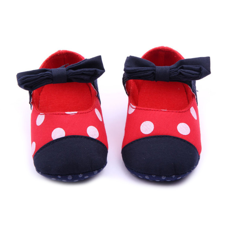 2015 New Brand Girl Toddler Shoes Polka Dot Little Kids Shoes With A Bowknot Girls Baby Squeaky Shoes Chaussure Fille CQ151