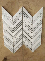 white and grey chevron pattern marble mosaic tile for bathroom floor use prices