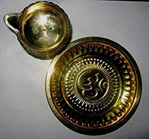 Artcollectibles India Set Of Puja Thali (Brass Plate)And Brass Kuber Diya (Oil Lamp) For Hindu Prayers