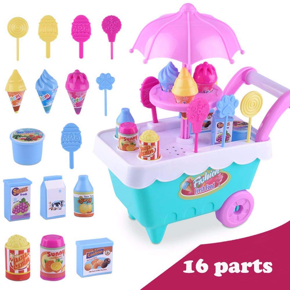Play House, Pretend Play Toy Food Toys Education Children Gift Ice Cream Cart Play Set Kids