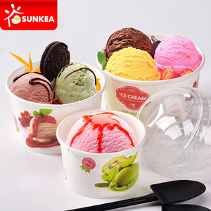 Custom printed disposable paper ice cream cup