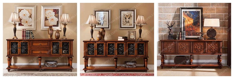 Long Narrow Console Table Wood Carved Antique Drawer Cabinet ...
