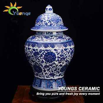 Traditional Chinese Antique Blue White Ceramic Vases Ginger Jars