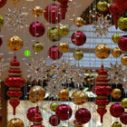 Shatterproof plastic fiber glass giant Christmas ball with different shapes for shopping mall hanging decoration