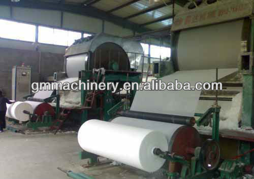 toilet tissue paper making machine, waste paper recycling machine. Raw material: wood, bamboo, straw, stalk, bagasse, etc.