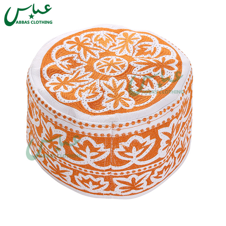 Orange Prayer Caps,Style Bangladesh  Embroidery Omani Cap