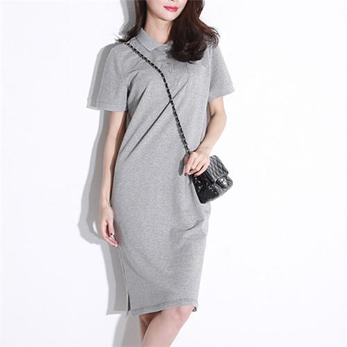 Buy Summer Women Dress Shirt Cotton Casual Polo Dress Tunic Solid