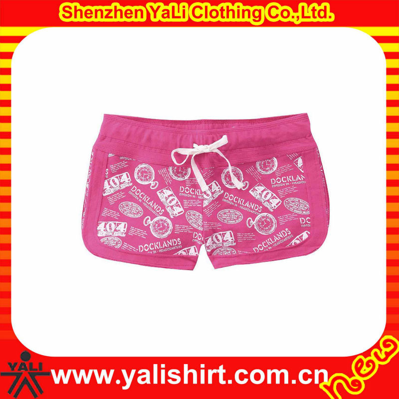 Custom hot sale comfortable pink blank print cotton casual fitness running shorts for women