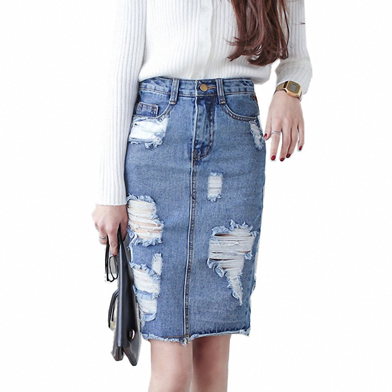 8978845c1c2cb Get Quotations · 3XL Plus Size Denim Skirt Women NEW Spring Autumn Vintage  Ripped Denim Skirt Women Slim