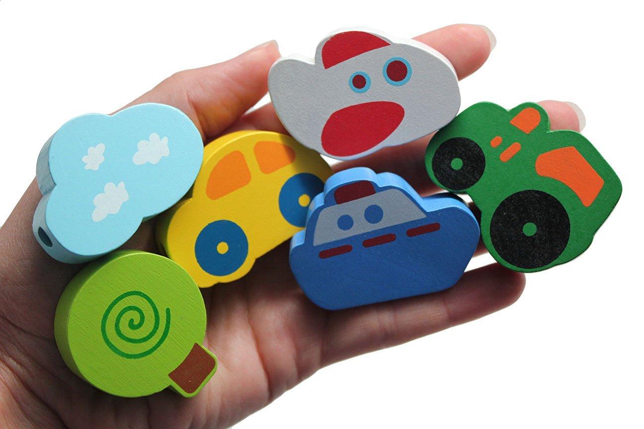 Buy Jumbo Beginner Airplane Transportation Wood Beads Toy Toddler