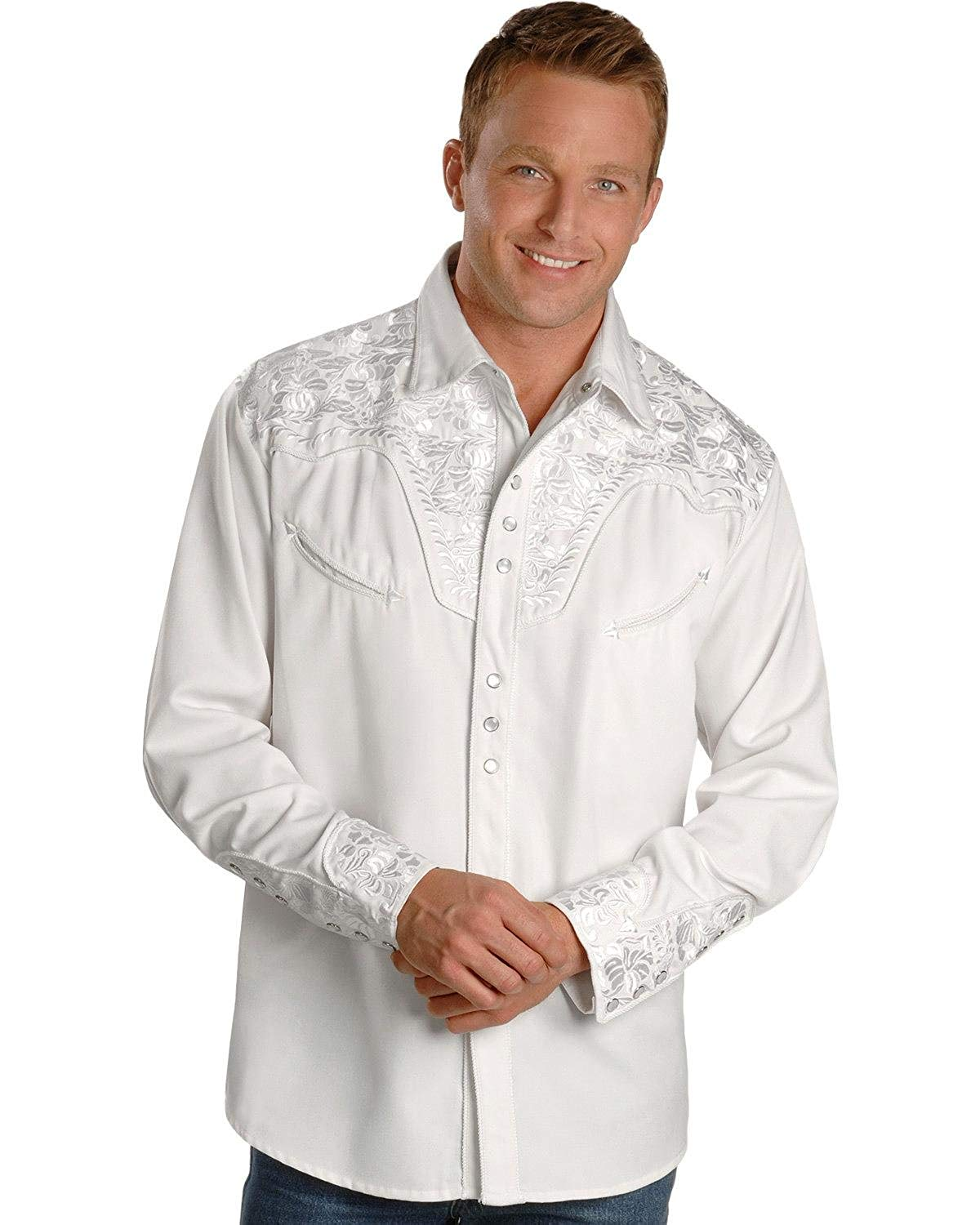 f6739009 Scully Men's White Floral Embroidery Retro Western Shirt - P-634 White