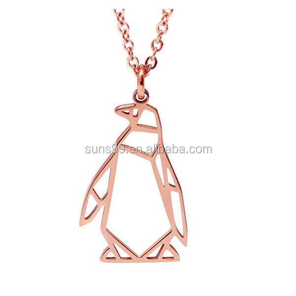 Cute Design Penguin Necklace 18k Rose Gold Plated Geometric Origami Jewelry Made In China