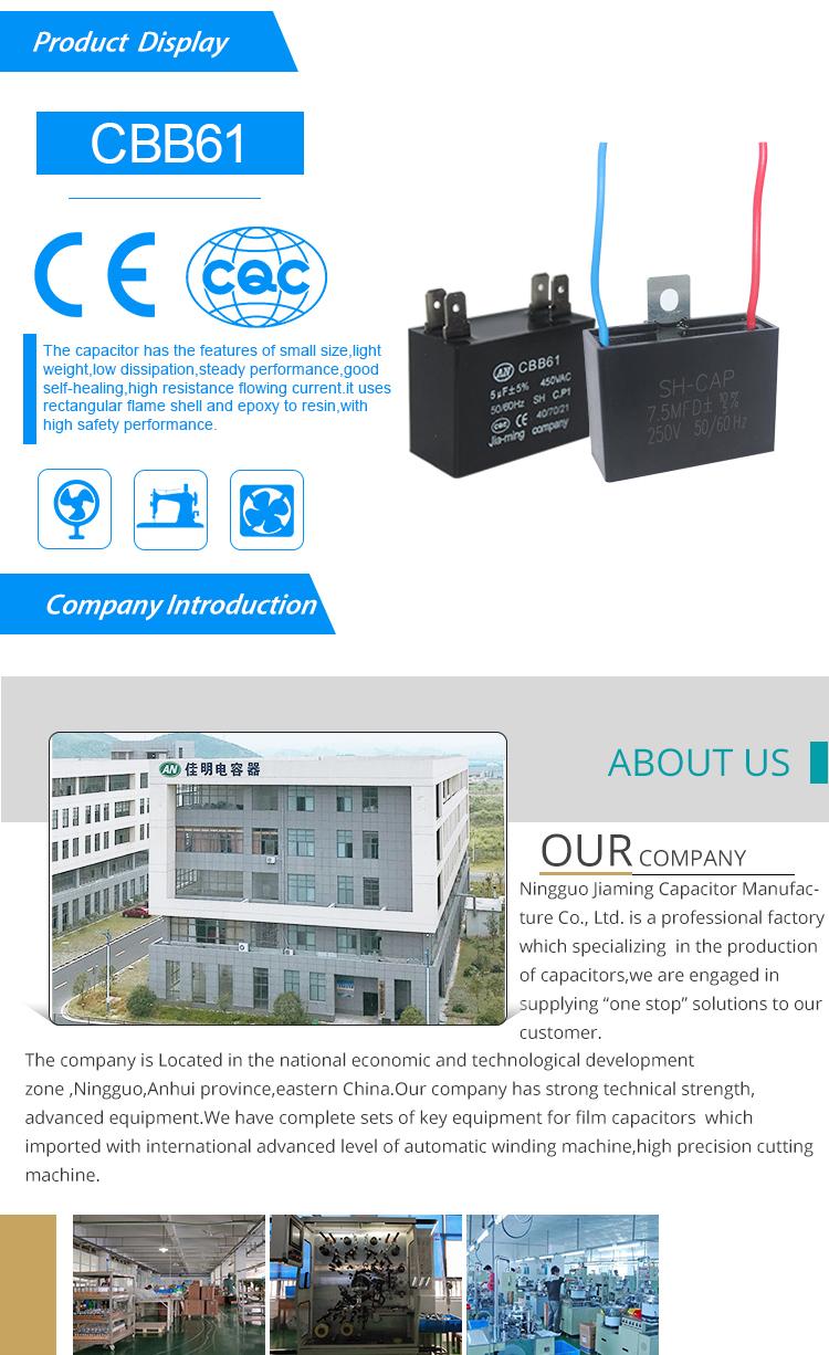 Black Fan Capacitor Cbb61 2 5uf 3 Wires Ac 450v 50  60hz
