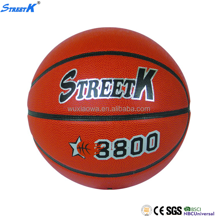 2017 Streetk brand bulk basketballs custom cheap leather basketball ball