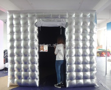 silver color inflatable photo booth for wedding party