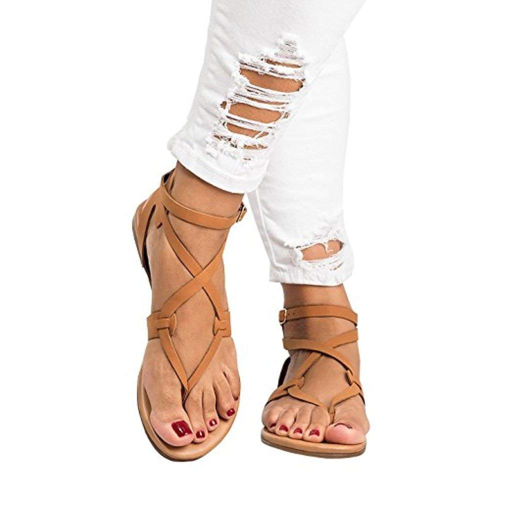 d24e954bd639 Get Quotations · Dukars Womens Flat Ankle Wrap Strap Sandal with Buckle