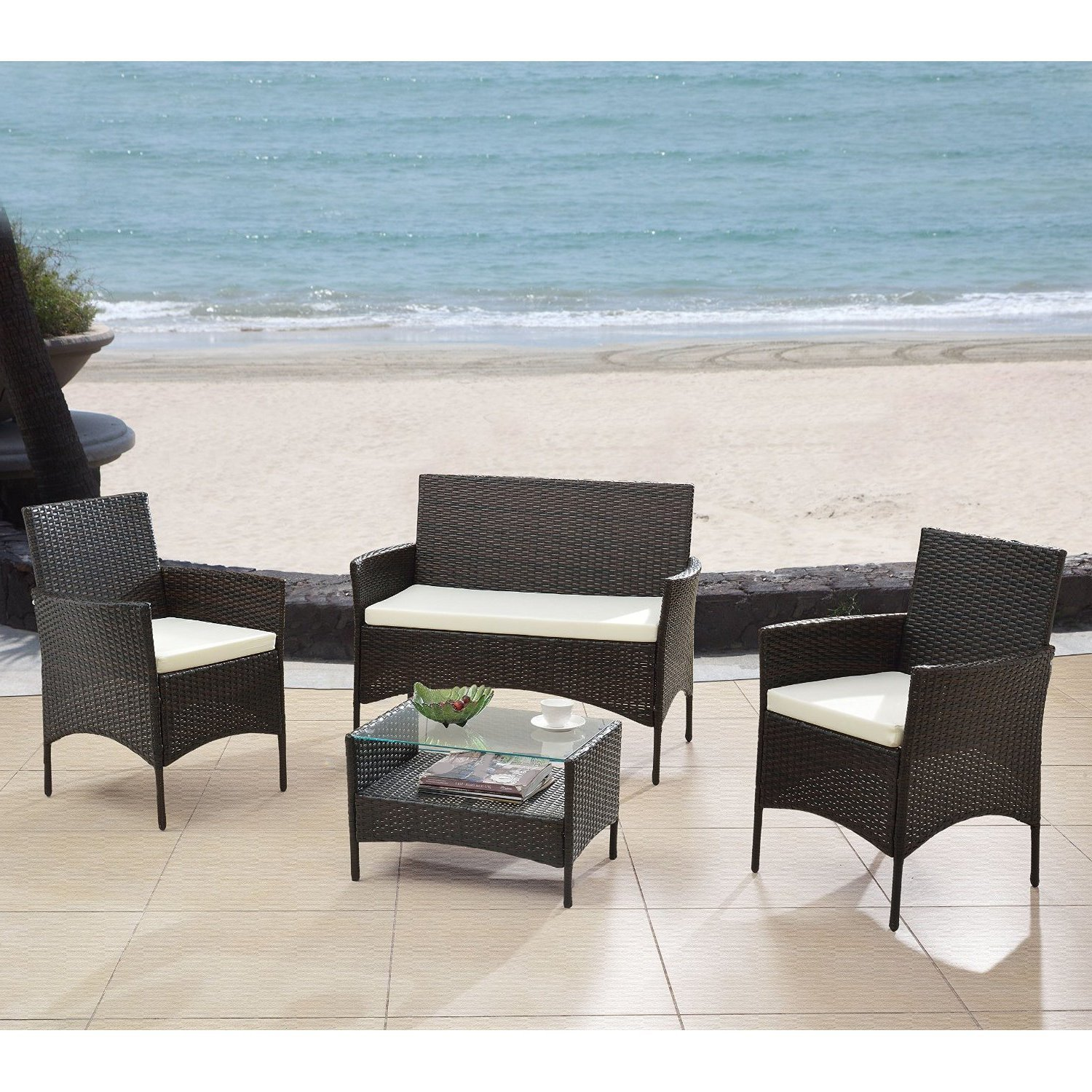 Outdoor Patio Furniture Set Cushioned 4 Pieces Wicker Patio Set Table, Two Chairs and a Double Sofa Espresso Finish with Beige Cushions Outdoor Furniture Lawn Rattan Garden Set