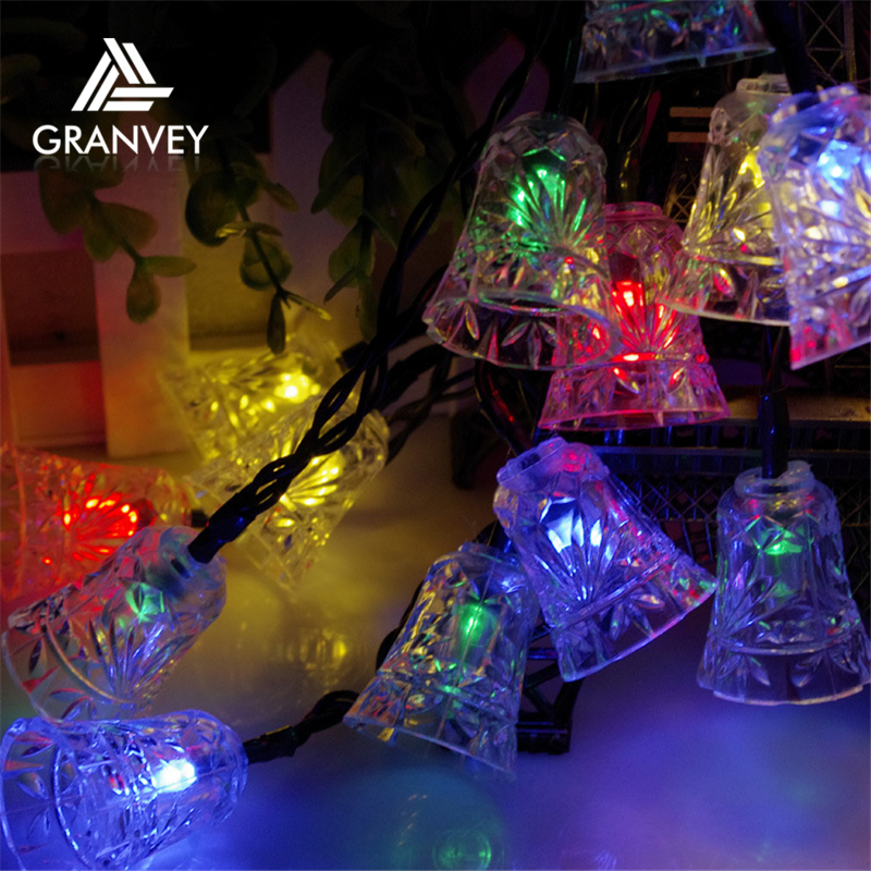 Holiday decoration led lamp 6m 30leds waterproof Garland Christmas lights outdoor Small bell string lights Colorful light