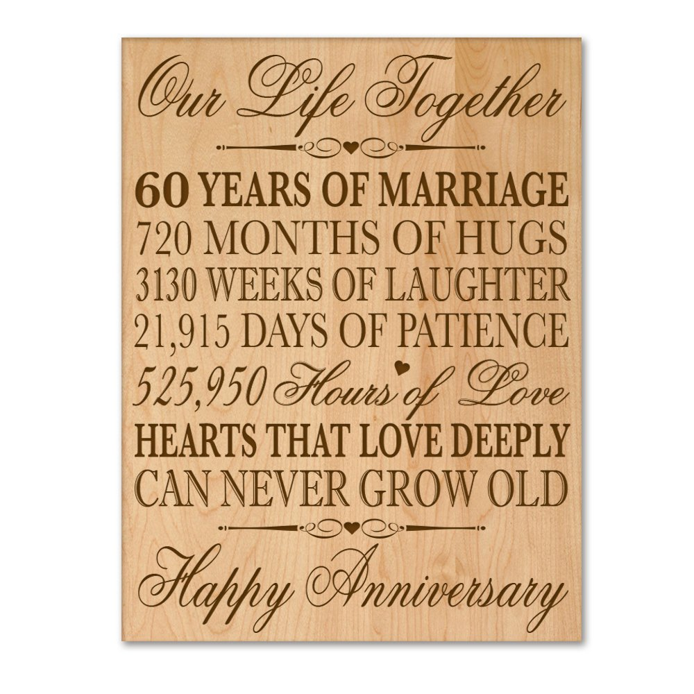 "60th Wedding Anniversary Wall Plaque Gifts for Couple, 60th Anniversary Gifts for Her,60th Wedding Anniversary Gifts for Him 12"" W X 16"" H Wall Plaque By ..."