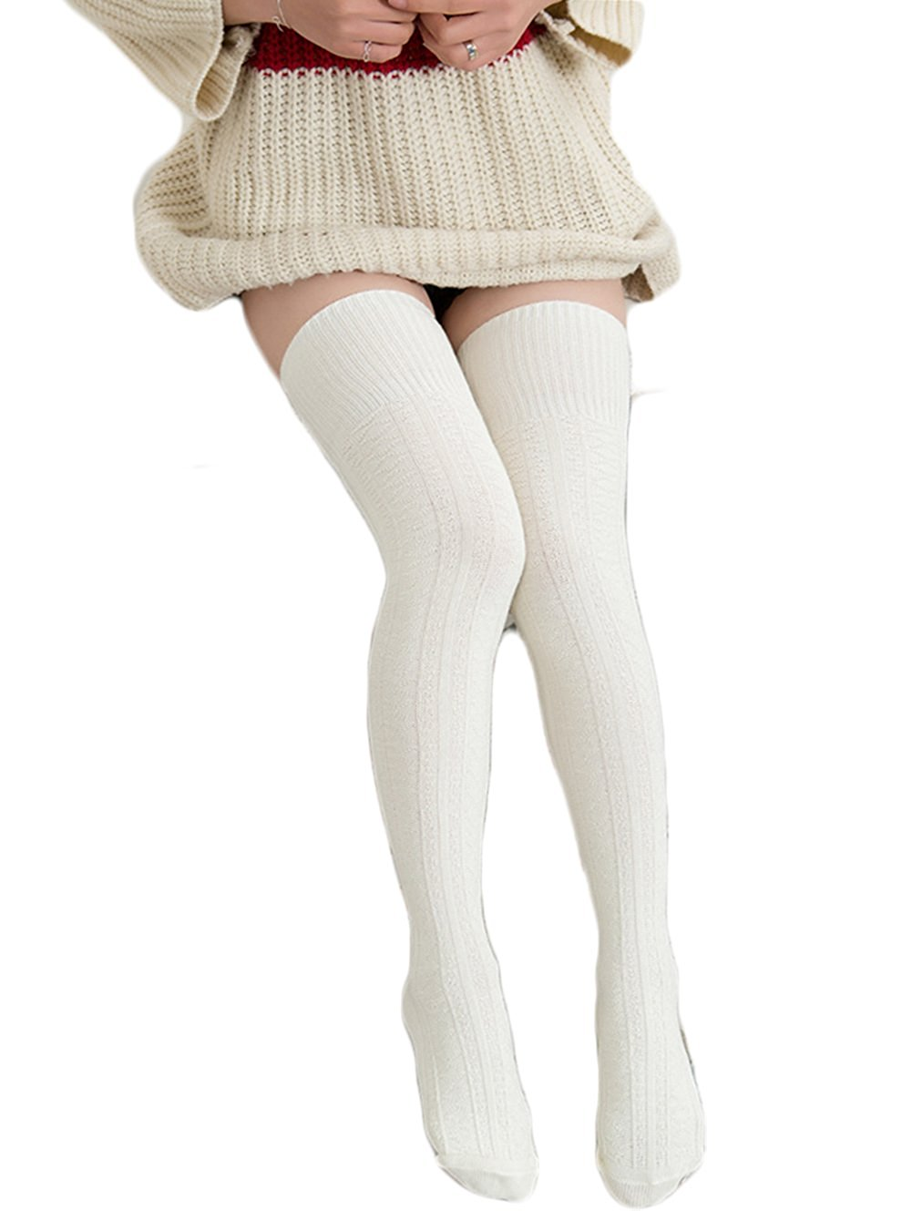 1a66240fccb Get Quotations · HITOP Womens Spring Over Knee Leg Warmer Crochet Thigh High  Boot Socks Girls Leggings