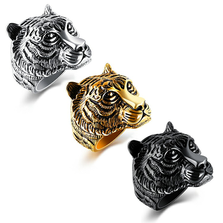Marlary High Quality Animal Head Design Mens Jewelry Gold Casting Ring ,Gold Tiger Rings