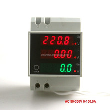 Din Rail Dual Display LED Ammeter Voltmeter AC 80-300V 0-100.0A Voltage Current Power Time Energy Tester 4 Digits 3 IN 1