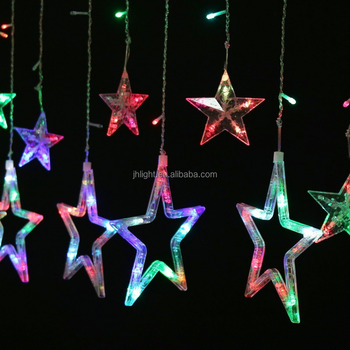 juhui cheap wholesale led hanging star curtain string light multicolored christmas light