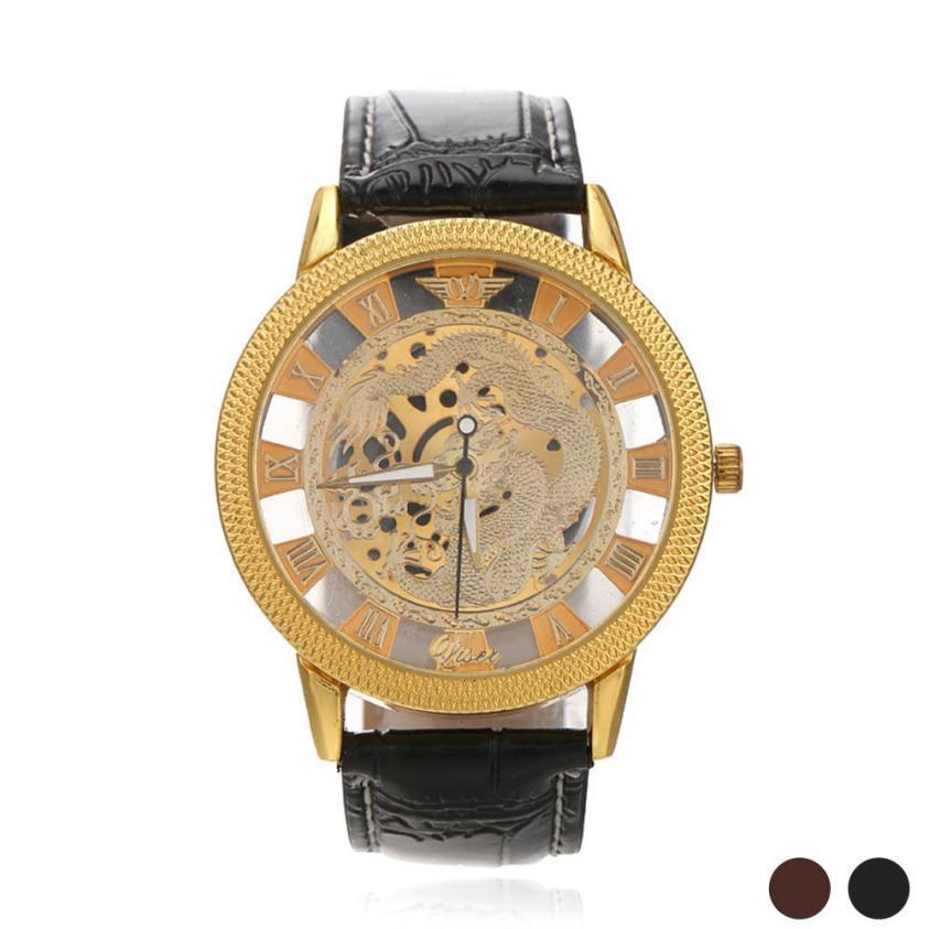 Роскошные дракон рим цифровой кожа выдолбите циферблат кварцевые наручные часы мужчины бизнес свободного покроя платье часы спортивные часы подарок A21