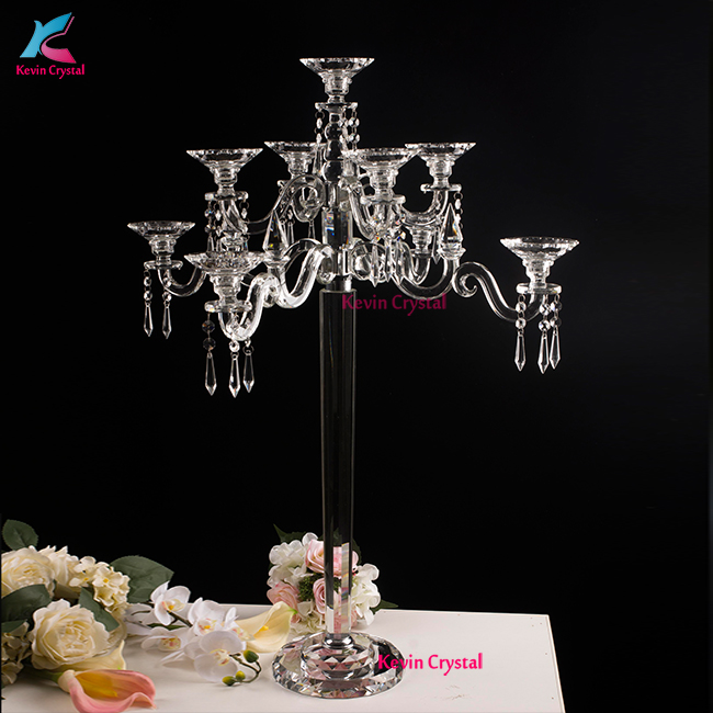 Hot sell wedding decorations tall crystal candelabra with votive tealight holders