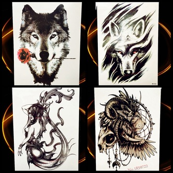 Wolf Design Temporary Tattoo Stickers Men Large Body Art Flash Tattoo Paste Women 21*15CM Wolves Totem Waterproof Tatoo Decals